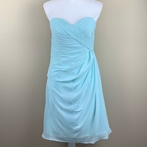 Mori Lee light blue/turquoise chiffon dress